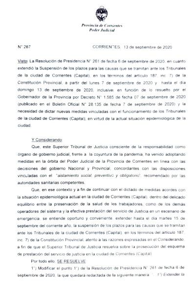 Corrientes (Capital): Extender la Suspensión de los plazos, hasta el 15 de septiembre de 2020, inclusive.