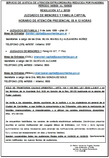 Corrientes (Capital) - SERVICIO DE JUSTICIA DE ATENCIÓN EXTRAORDINARIA
